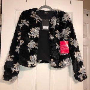 Asos floral faux fur jacket Size 2